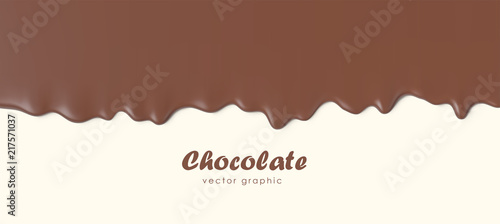 Fotografiet Chocolate flowing down, Dripping melted chocolate background, isolated vector illustration