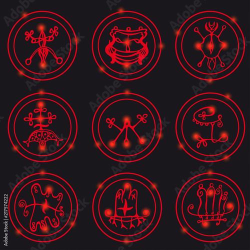Photo  Set of  hand drawn stylized magical seals and symbols.