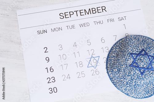 Obraz na płótnie Calendar with kippah. Yom kippur concept.
