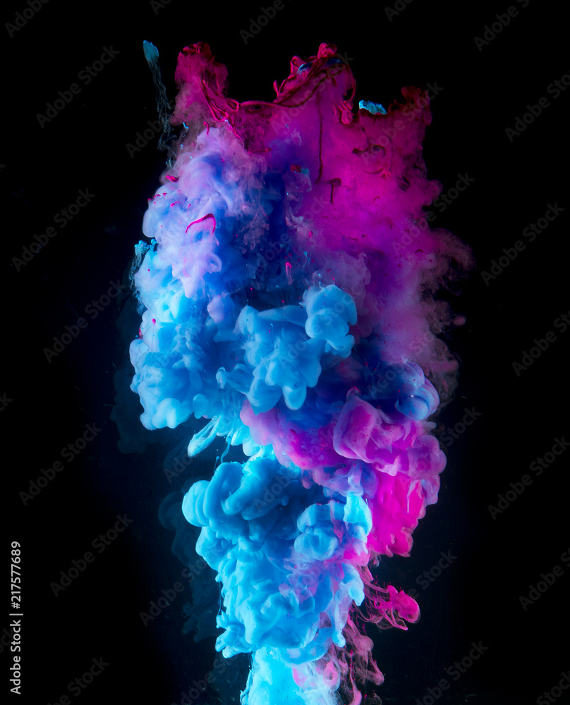 Fototapety, obrazy: Colorful rainbow paint drops from above mixing in water. Ink swirling underwater.