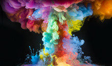 Colorful Rainbow Paint Drops From Above Mixing In Water. Ink Swirling Underwater.
