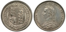 Great Britain British Silver Coin 6 Six Pence 1887, Crowned Shield With Lions And Harp, Bust Of Queen Victoria Left,