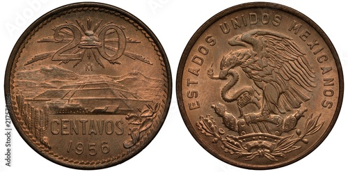 Fotografie, Obraz  Mexico Mexican coin 20 twenty centavos 1956, Liberty cap with rays divides value