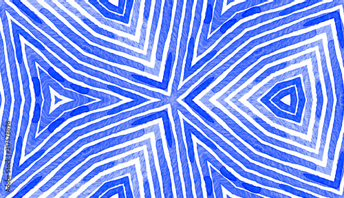 Fototapety, obrazy: Blue Geometric Watercolor. Cute Seamless Pattern. Hand Drawn Stripes. Brush Texture. Fantastic Chevr