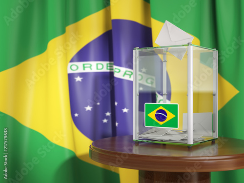 Stickers pour porte Pierre, Sable Ballot box with flag of Brazil and voting papers. Brazilian presidential or parliamentary election.