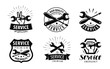 service, repair set of logos or labels. maintenance work icon. vector illustration