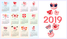 Pig Emoji, Emoticon Calendar 2019 Year Of Pig. Vector Chinese Zodiac Sign Year Of Pig,Red Paper Cut Pig,Happy Chinese New Year 2019 Year Of The Pig