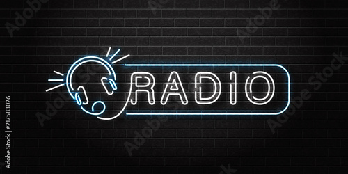 Cuadros en Lienzo Vector realistic isolated neon sign of Radio logo with headset for decoration and covering on the wall background
