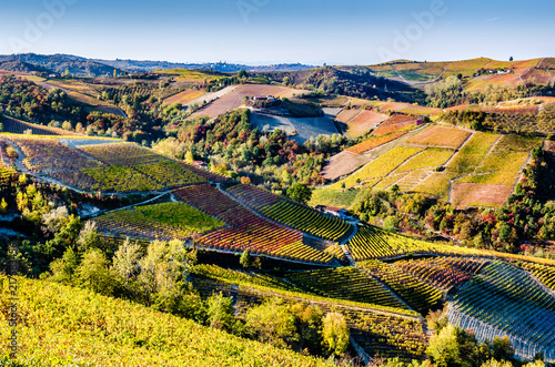 A breathtaking view of the Piedmont hills in the Langhe during the autumn, while Canvas Print