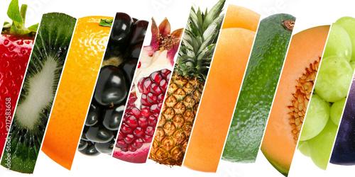 Papel de parede Diferentes frutas, com diferentes texturas e cores