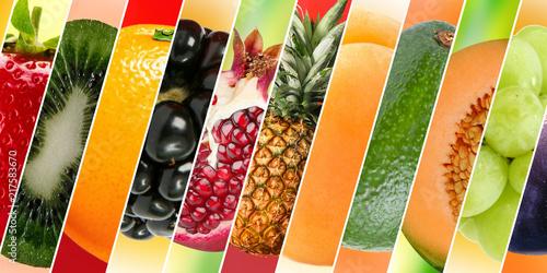 Tela Diferentes frutas, com diferentes texturas e cores