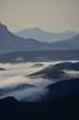Brumes matinales au lever du jour, La Beaume, Hautes Alpes, France, août 2018