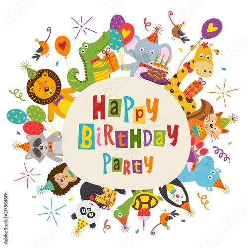 Photo  frame Happy Birthday with funny animals - vector illustration, eps