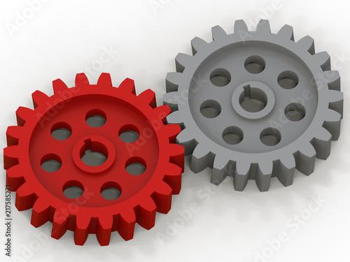 Fotografie, Obraz  3D render - grey and red gears interlock