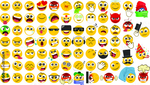 Fotografie, Obraz  Big set of emoicons in a flat design