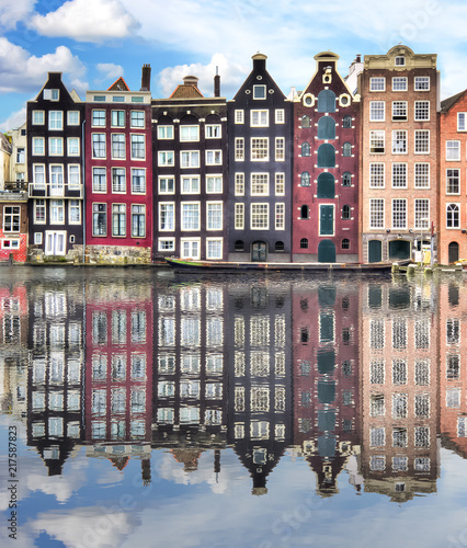 Photo Amsterdam architecture and Damrak canal, Netherlands