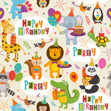 Seamless Pattern With Funny Animals Happy Birthday - Vector Illustration, Eps