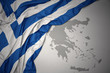 canvas print picture waving colorful national flag and map of greece.