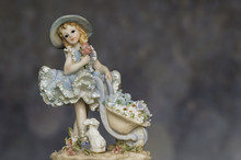 Vintage Girl Figurine With Bunny In Petticoat