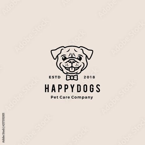 Fotomural smiling pug dog smile hipster retro vintage cartoon logo badges vector mascot ch