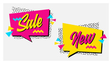 Vector Set Of Memphis Style Banners With Sale And New Labels. Bright Geometric Shapes And Textures. 90s Or 80s Design Template Ready To Be Used In Poster, Email Or Advertisement.
