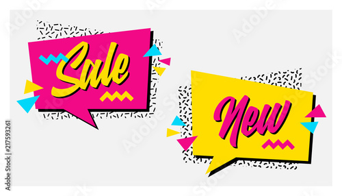 Fotografia  Vector set of memphis style banners with Sale and New labels