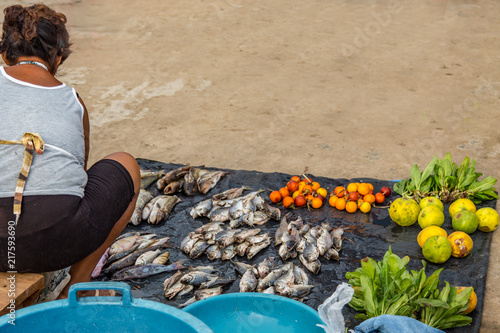 Fotografie, Obraz  A Woman Prepares Her Fish and Fruits for Sale at the Morning Market, Village of