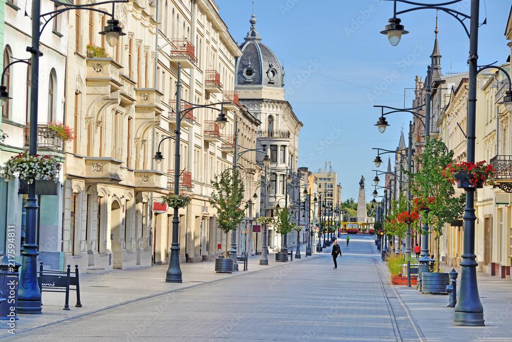Fototapeta Łódź, Polska- ul. Piotrkowska.