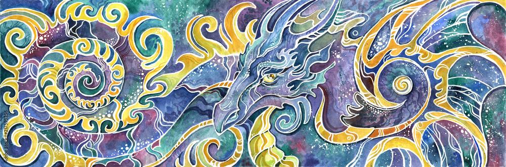 Fototapeta triptych Chinese dragon full set colorful drawn