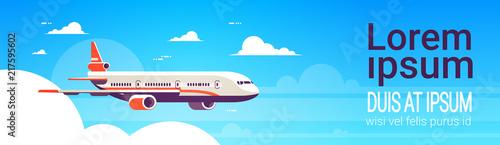 Fototapeta flying airplane express delivery shipping international transportation concept sky background flat horizontal banner copy space vector illustration obraz