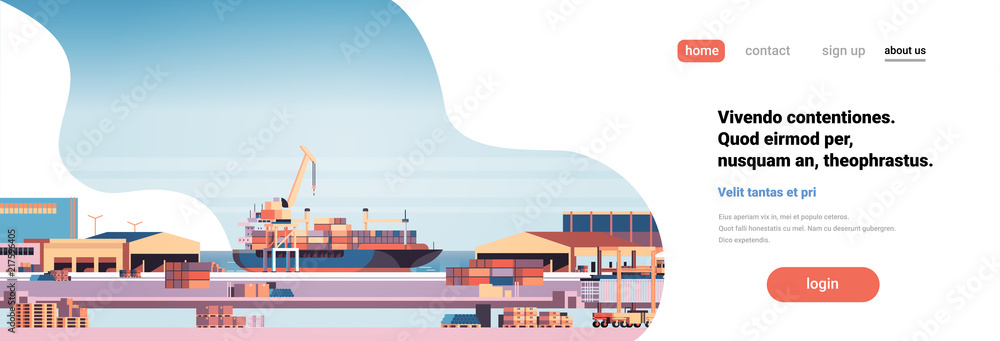Fototapeta Industrial sea port cargo logistics container import export freight ship crane water delivery transportation concept shipping dock flat horizontal banner vector illustration