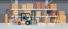 Forklift Loader Pallet Stacker Truck Equipment Warehouse Interior Background Rack Box International Delivery Concept Flat Horizontal Vector Illustration