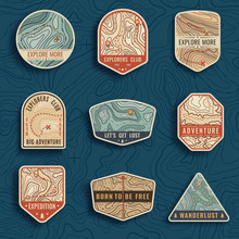 Set Of Nine Topographic Map Travel Emblems. Outdoor Adventure Emblems, Badges And Logo Patches. Forest Camp Labels In Vintage Style. Map Pattern With Mountain Texture And Grid