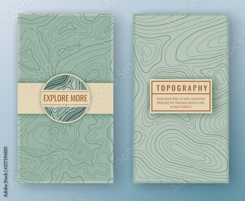 Fotografija Two abstract retro vertical banners with map pattern and copy space frames