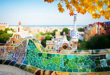 Gaudi Bench And Cityscape Of B...