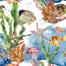 Watercolor Laminaria Branch, Coral Reef And Sea Animals Seamless Pattern. Hand Painted Jellyfish, Starfish, Tropical Fish, Air And Shell On Blue Background. Nautical Illustration For Design On Print.
