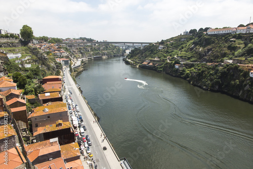 City on the water Panorama of the Douro estuary and the city of Porto