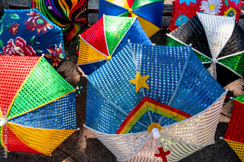 Fotografía  Colorful Brazilian Carnival decoration in the city of Olinda, Pernambuco, Brazil
