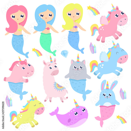 Poster Pony Magical creatures. Narwhal, unicorn mermaid,bunny mermaid, cat mermaid, pegasus, magical items vector illustration