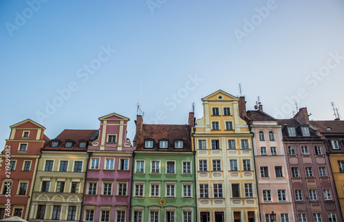 Photo Stands Europa soft focus cozy small architecture concept of colorful facades buildings in contrast summer bright day time