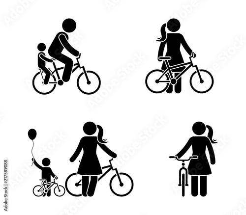 Fototapeta Stick figure man and woman bicycle icon. Riding bike happy people obraz