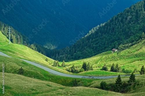 Fotografie, Obraz  Valle alpina alla luce del tramonto