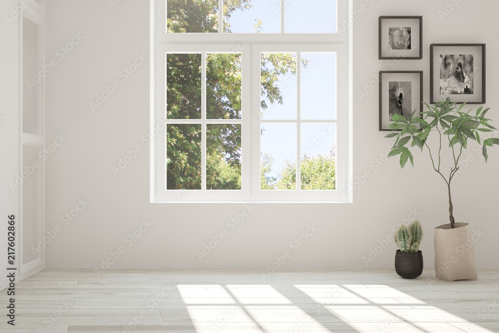 Fototapeta White empty room with summer landscape in window. Scandinavian interior design. 3D illustration
