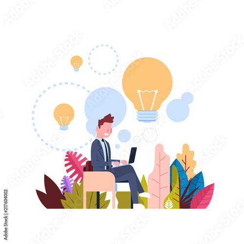 Fototapety, obrazy: new idea concept over light lamp background businessman generate laptop office desk flat vector illustration