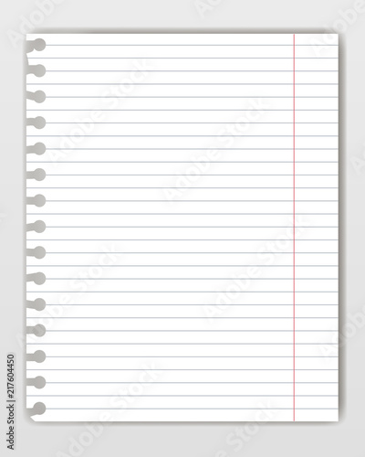 blank lined copy book sheet with torn edge mockup or template of