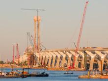 Major Bridge Construction Site At The Golden Hour, Montreal, Quebec, Canada.