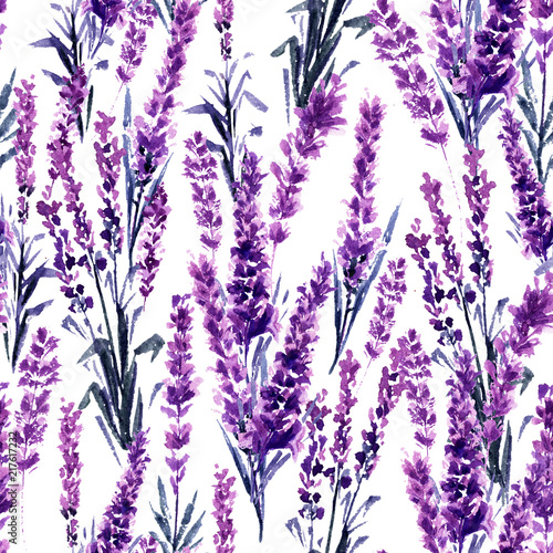Photo Lavender Field Seamless Pattern