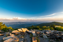 A Dramatic Sunset Viewed From Spruce Knob West Virginia In The Appalachian Mountains Looking Down On Hills In The Surrounding Valleys