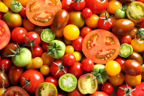 Fototapeta Different sorts of tomatoes as background, closeup obraz
