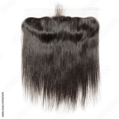 Straight black human hair weaves extensions lace frontal closure Wallpaper Mural